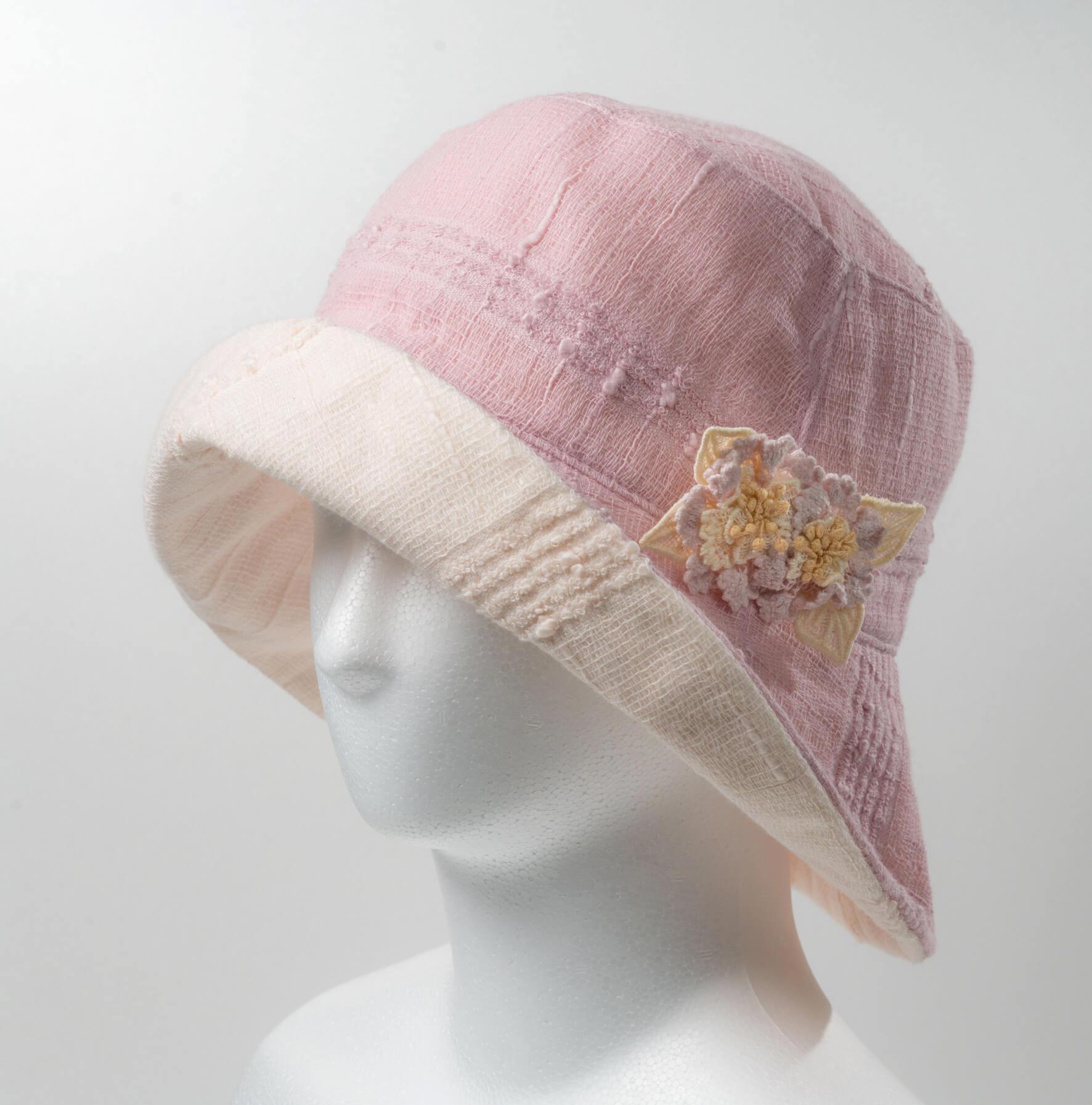 リバ-シブル帽子(パ-プル×薄ピンク)