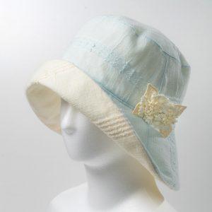 リバ-シブル帽子(ブル-×オフホワイト)