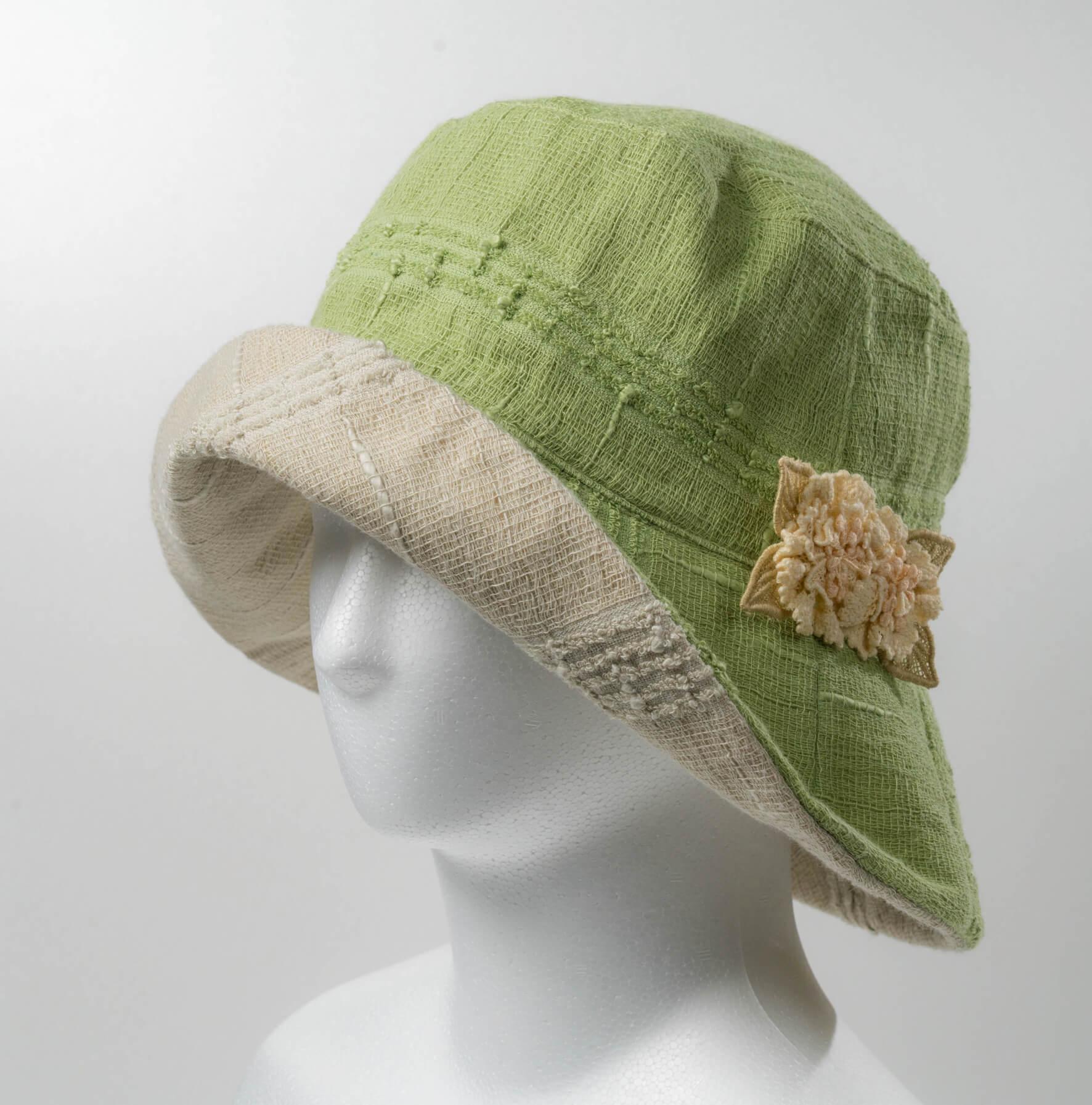 リバ-シブル帽子(グリ-ン×薄グリ-ン)